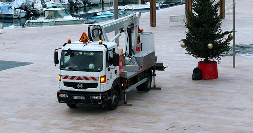 Christmas Decoration With Aerial Work Platform Truck Mounted Footage