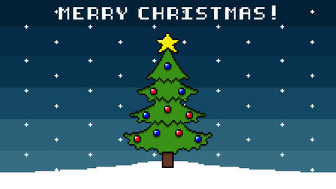 Christmas Background 8 Bit Animation