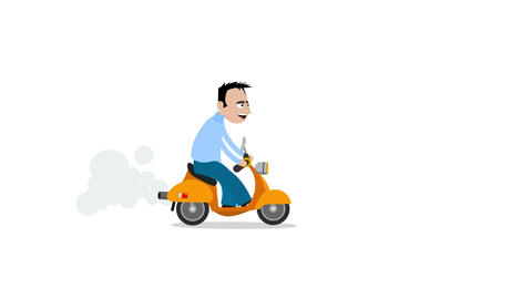 Man rides a scooter Animation