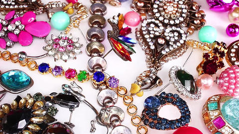 Fashion jewelrys. Fashion jewels as background. Jewelery texture. A lot of Live Action
