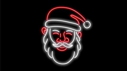 Santa Claus Neon Sign 2D Animation, Stock Animation