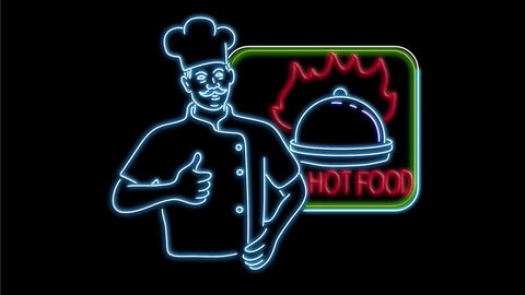 Chef Thumbs Up Hot Food Neon Sign 2D Animation Animation