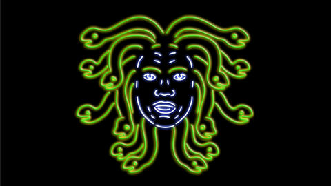 Head of Medusa Neon Sign 2D Animation Animation