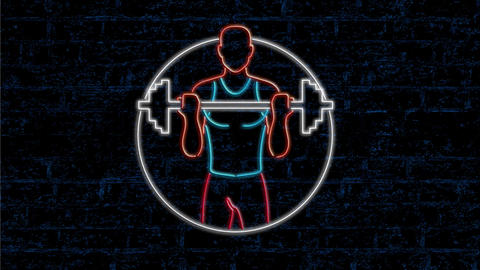 Athlete Lifting Barbell Neon Sign 2D Animation Animation