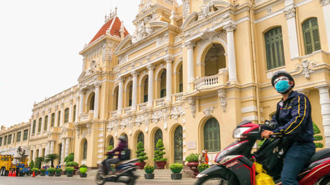 Timelapse of Ho Chi Minh City Hall in early morning, Vietnam GIF