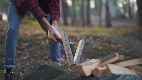 Man chops wood with axe in the forest. Forester cuts wood. Wood chopping. Slow Footage