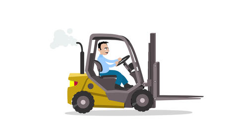 Man drives a forklift Animation