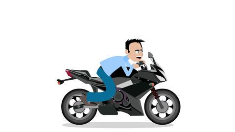 Man rides a motorbike Animación