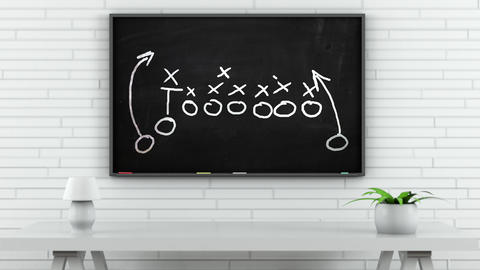 4K American Football Tactics on Blackboard in White Room 1 GIF