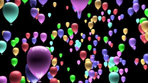 4K Pastel Color Party Balloons Ascending with Matte 3D Animation Animation