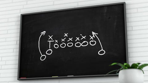 4K American Football Tactics on Blackboard in White Room 2 Animation