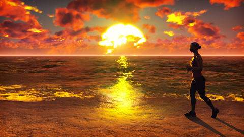 Sportswoman runs along the beach ocean at sunrise. Beautiful summer looped Animation