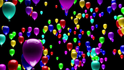 4K Colorful Party Balloons Ascending with Matte 3D Animation Animation