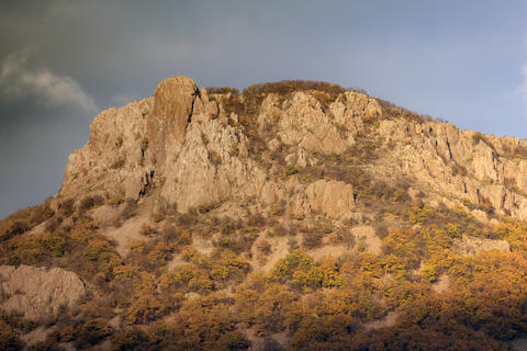 Autumn landscape. Colorful rock from the Mountain Photo