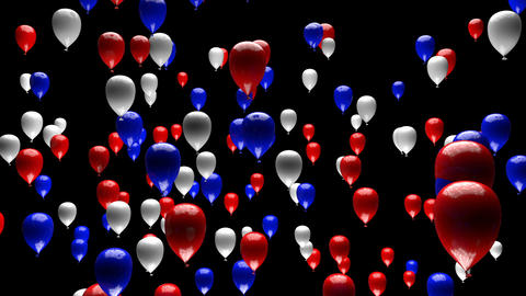 Blue White Red Balloons Ascending with Matte 3D Animation Animation