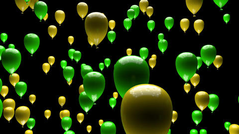 Yellow Green Balloons Ascending with Matte 3D Animation Animation