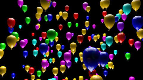 Spectacular Colorful Balloons Ascending with Matte 3D Animation Animation