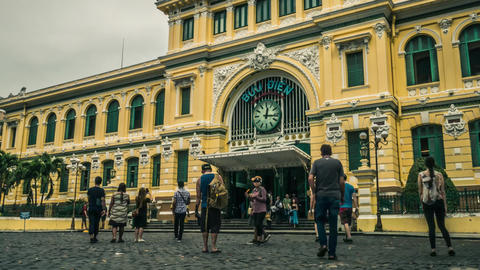 Time lapse of Ho Chi Minh City central post office at dawn GIF