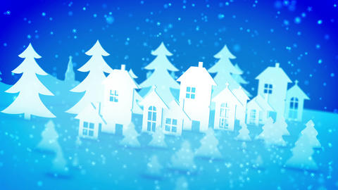 Christmas paper buildings under declining snow Animation