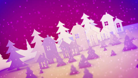 Christmas toy buildings in rosy backdrop Animation