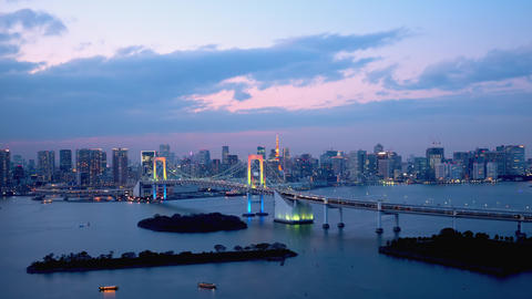 TimeLapse - Daytime to night scenery in Tokyo and Tokyo bay - Tilt up Footage