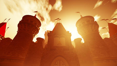 4K Fairy Tale Fantasy Castle in the Sunset 3D Animation Animation
