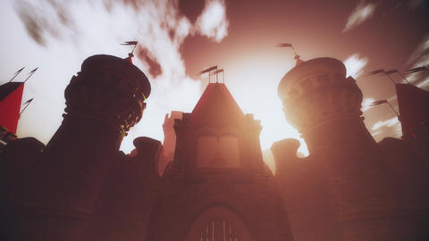 4K Mysterious Fairy Tale Fantasy Castle in the Sunset 3D…, Stock Animation