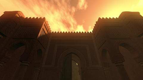 4K Middle Eastern Fantasy Tale Building in the Sunset 3D Animation Animation