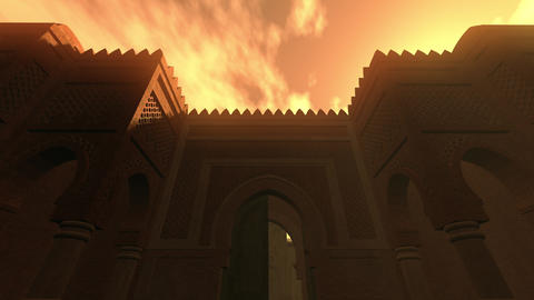 4K Middle Eastern Fantasy Tale Building in the Sunset 3D… Stock Video Footage
