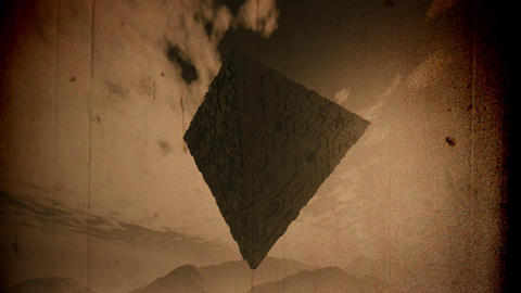 4K Surrealistic Sci-Fi Upside Down Abstract Pyramid Levitate 3D Animation Vin Animation
