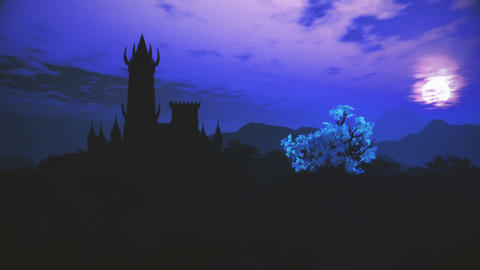 Fantasy Castle on Hilltop in a Fabolous Mystery Land Night 3D Animation Animation