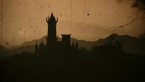 Fantasy Castle Sunset in a Mysterious Land 3D Animation Vintage Animation