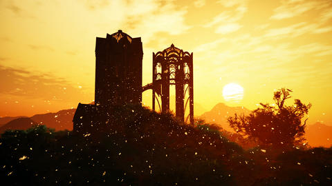 Castle of Elves Fantasy Scene with Fire Flies in a Wonderful Sunset 3D Animation Animation