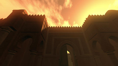 4K Middle Eastern Type Fantasy Building in the Sunset 3D Animation Animation