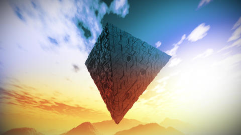 4K Surrealistic Sci-Fi Upside Down Abstract Pyramid Levitate 3D Animation 2 Animation