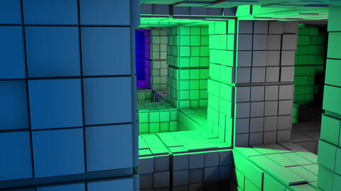 4K Sci-Fi Minimalist Cube Color Changing Labyrinth 3D Animation Animation