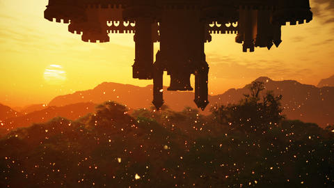 Surrealistic Upside Down Castle Fantasy Scene with Fire Flies 3D Animation Animation