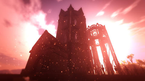 Fantasy Castle and Fire Flies in Fantasy World 3D Animation Stock Video Footage