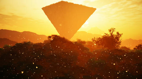 Upside Down Sci-Fi Pyramid Fantasy Scene Sunset with Fire Flies 3D Animation Animation