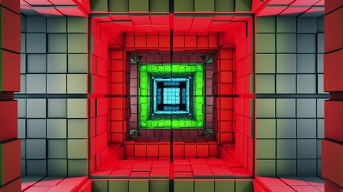 4K Sci-Fi Multicolor Minimalist Cube Labyrinth Modern Fantasy 3D Animation Animation