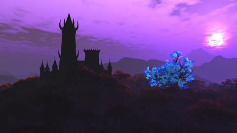 Fantasy Castle on Hilltop in a Fabolous Mystery Land 3D Animation Animation