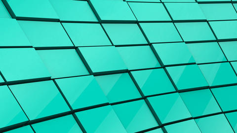 Minimalist Reflective Green Mint Cubic Blocky Wall 3D Background Animation Animation