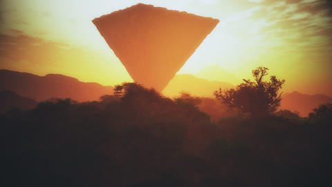 Upside Down Sci-Fi Pyramid Creepy Fantasy Scene Sunset 3D…, Stock Animation
