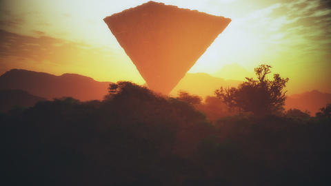 Upside Down Sci-Fi Pyramid Creepy Fantasy Scene Sunset 3D... Stock Video Footage