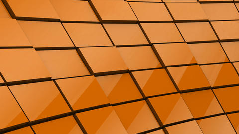 Minimalist Reflective Orange Cubic Blocky Wall 3D Background Animation Animation
