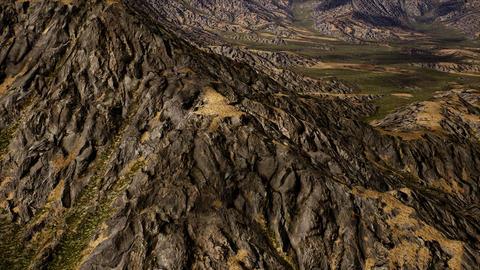 4K Aerial over Eroded Arid Landscape 3D Animation Animation