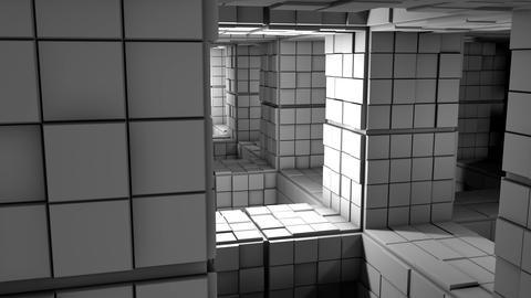 4K Sci-Fi Minimalist Cube Labyrinth Modern Fantasy Utopia 3D Animation Animation