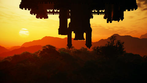 Surrealistic Upside Down Castle Fantasy Sunset Scene 3D Animation Animation