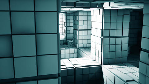 4K Science Fiction Minimalist Cube Maze Fantasy 3D Animation Animation