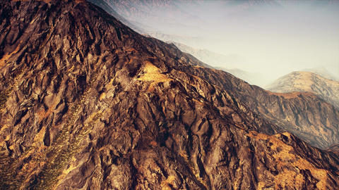 4K Flying by Foggy Mountain Ranges 3D Animation Animation
